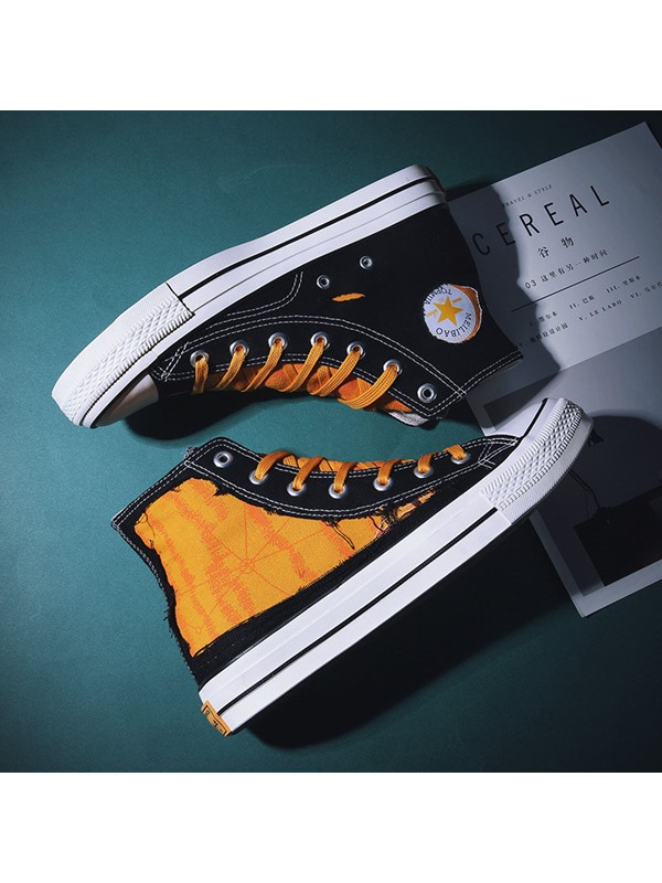 Color Block High Top Round Toe Men's Skate Shoes