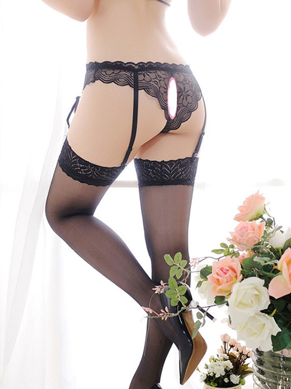 Floral Bowknot Thigh-High Stocking Lace Garters