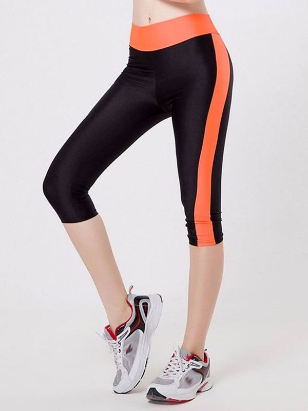 Breathable Color Block Polyester Women's Sports Pants