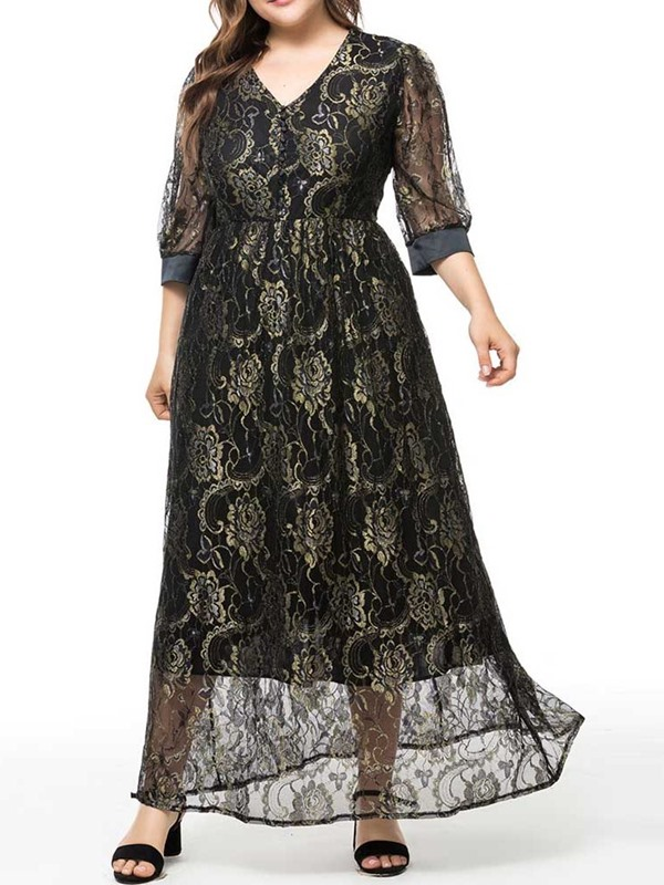 Plus Size See-Through Ankle-Length Floral Women's Maxi Dress