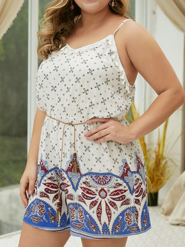 Plus Size Geometric Print Shorts Wide Legs High Waist Women's Jumpsuit