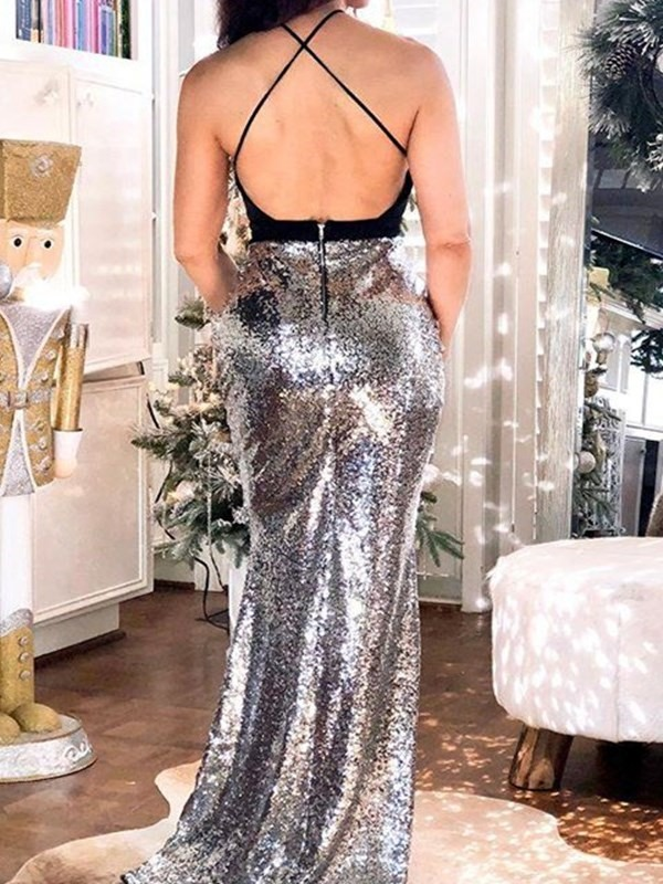 Spaghetti Straps Trumpet Sequins Floor-Length Evening Dress 2019