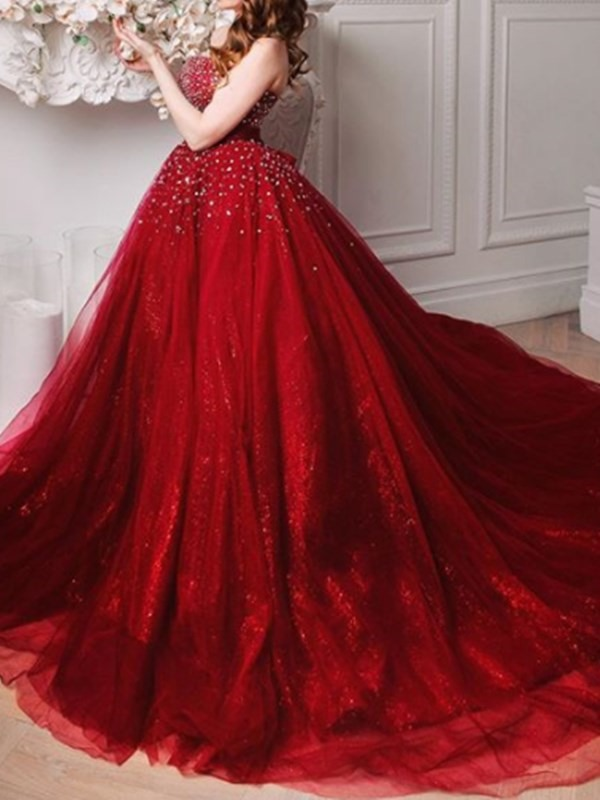 Strapless Sleeveless Court Beading Evening Dress 2019