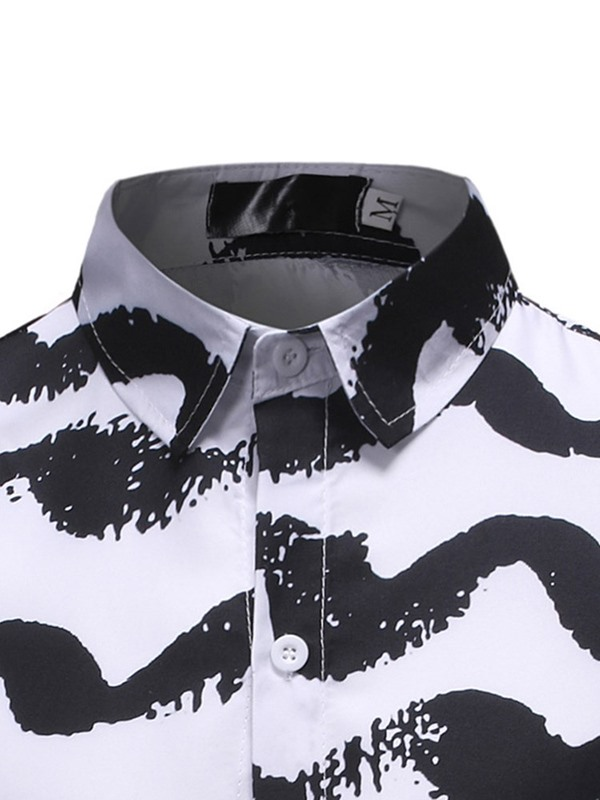 Lapel Color Block Button Long Sleeve Men's Shirt
