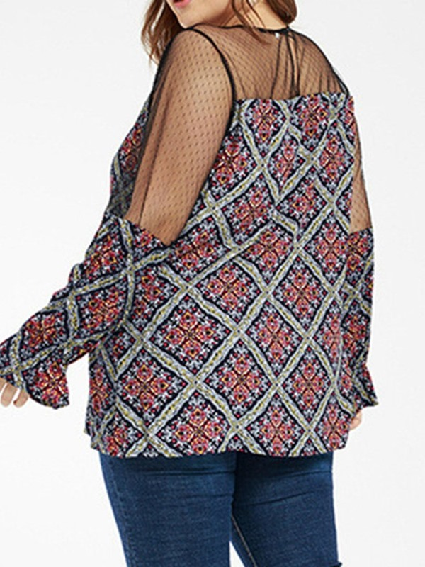 Plus Size Plaid See-Through Long Sleeve Women's Blouse