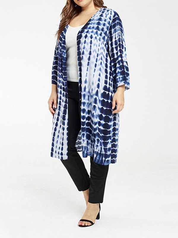 Plus Size Color Block Tie-Dye Long Women's Trench Coat