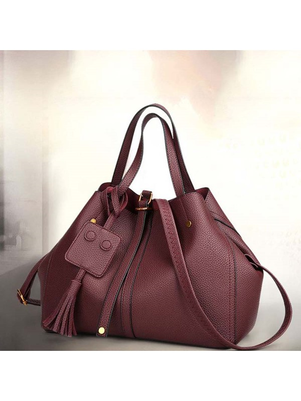 Thread Plain PU Handbag
