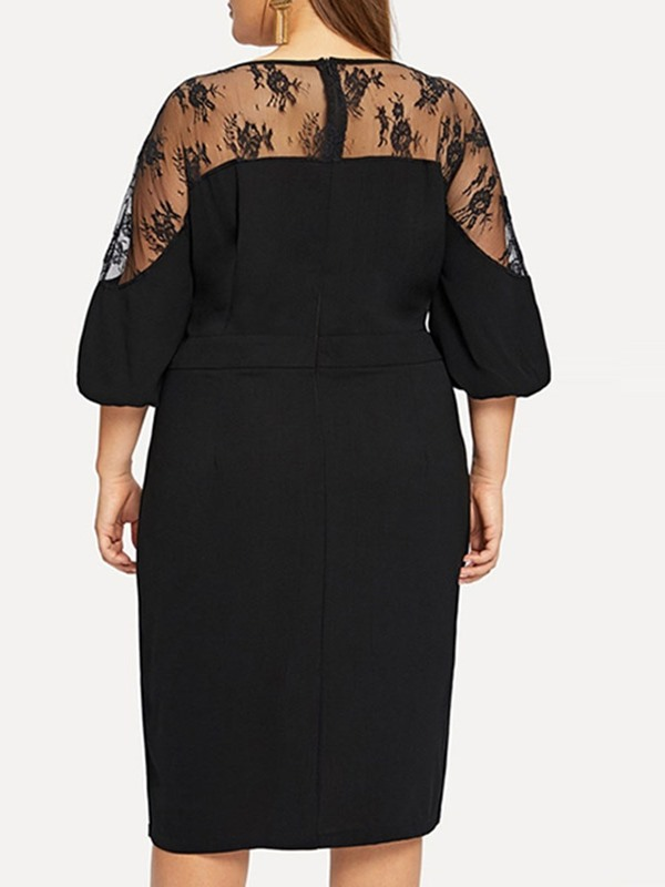 Plus Size Lace 3/4 Sleeve Mid-Calf Floral Women's Casual Dress