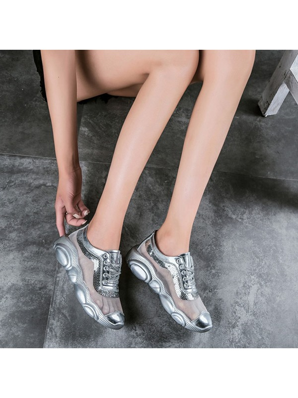 Metallic Lace-Up Chic Women's Sneakers