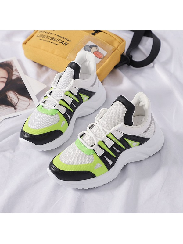 Neon Patchwork Lace-Up Round Toe Women's Sneakers