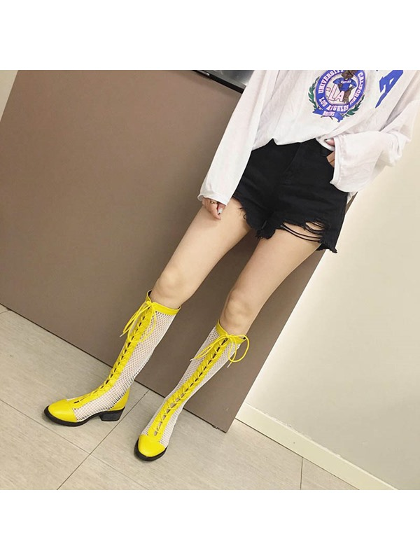 Mesh Hollow Lace-Up Front Chunky Heel Knee High Boots