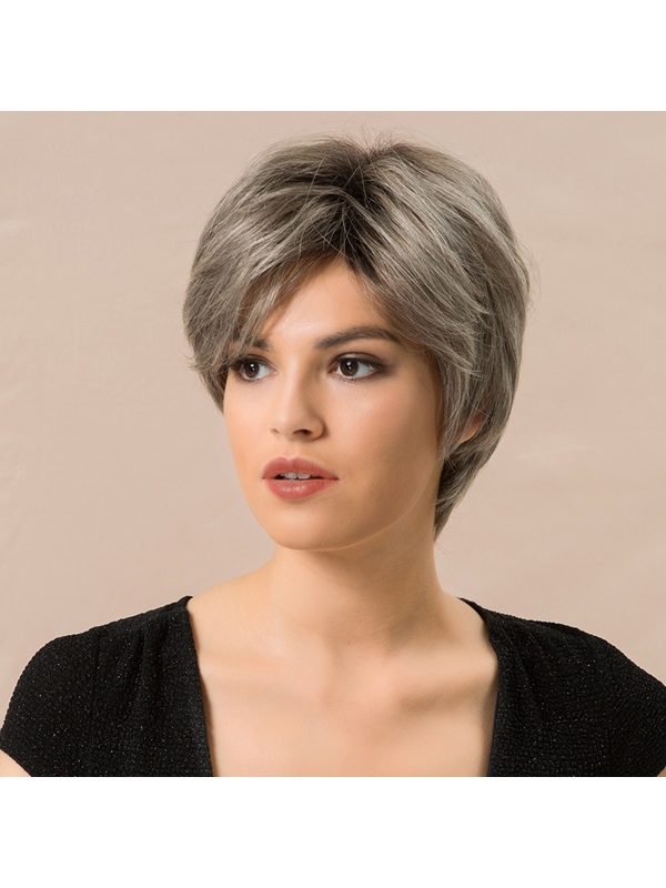 130% High Density Heat Resistant Women's Straight Human Hair Blend Capless Wigs 8Inches