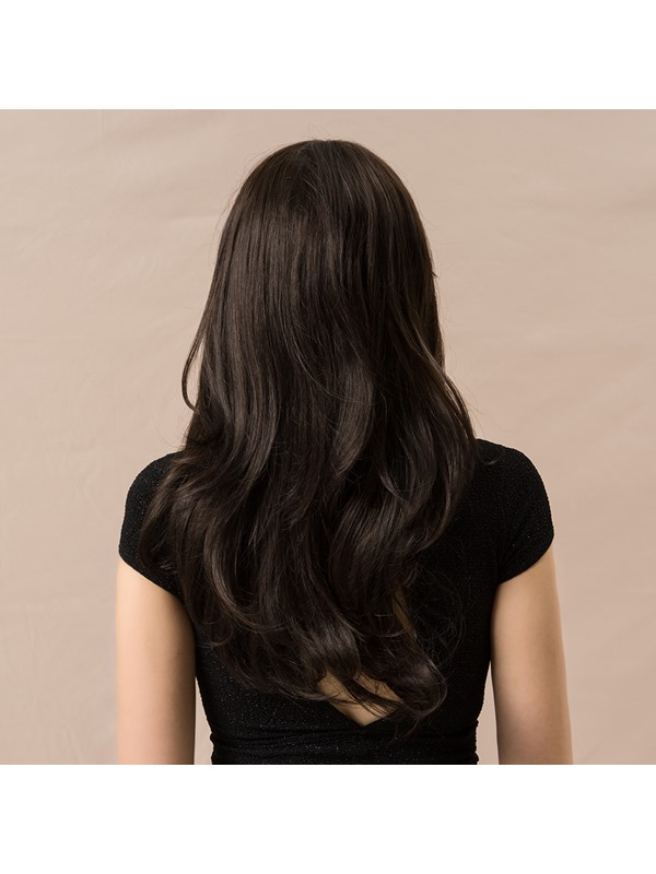 Natural Looking Women's Long Wavy Human Hair Blend Wigs 130% Density Capless Wigs 24Inches