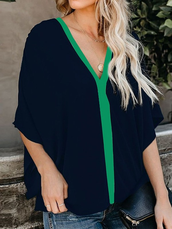 Color Block V-Neck Batwing Sleeve Women's Blouse