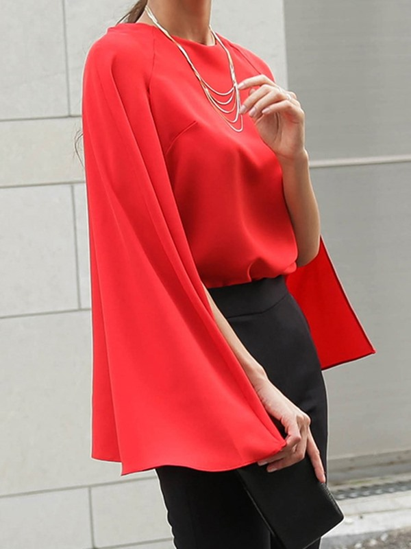 Pleated Plain Fashion Women's Blouse