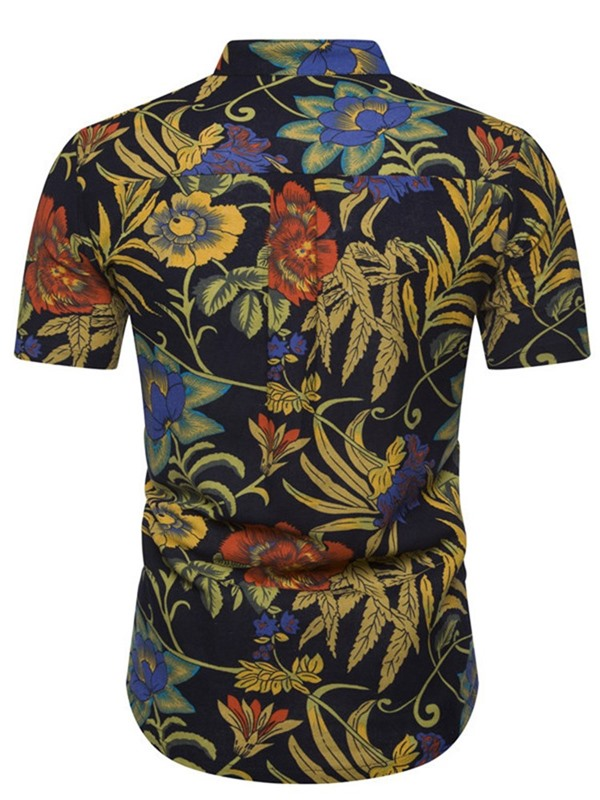 Stand Collar Ethnic Floral Button Summer Men's Shirt