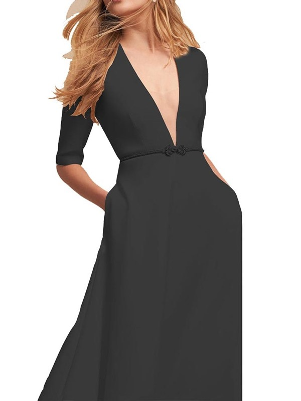 Pocket V-Neck Mid-Calf Pullover Women's Maxi Dress