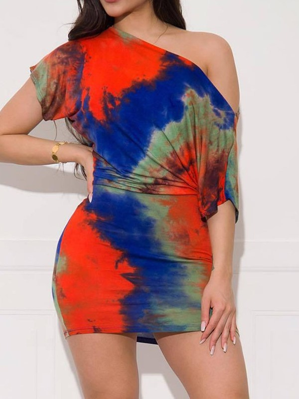 Sexy Tie-Dye Skirt Bodycon Pullover Women's Two Piece Sets
