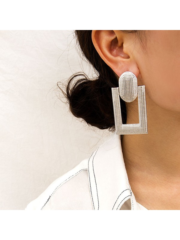Plain Alloy Square Hollow Out Earrings