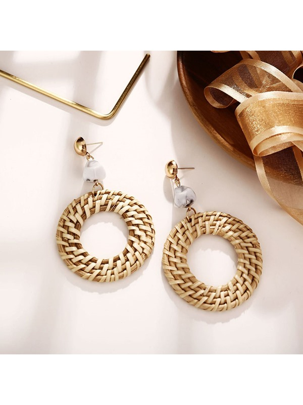Vintage Alloy Woven Holiday Earrings