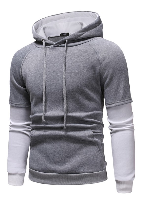 Hooded Pullover Color Block Casual Men's Hoodie