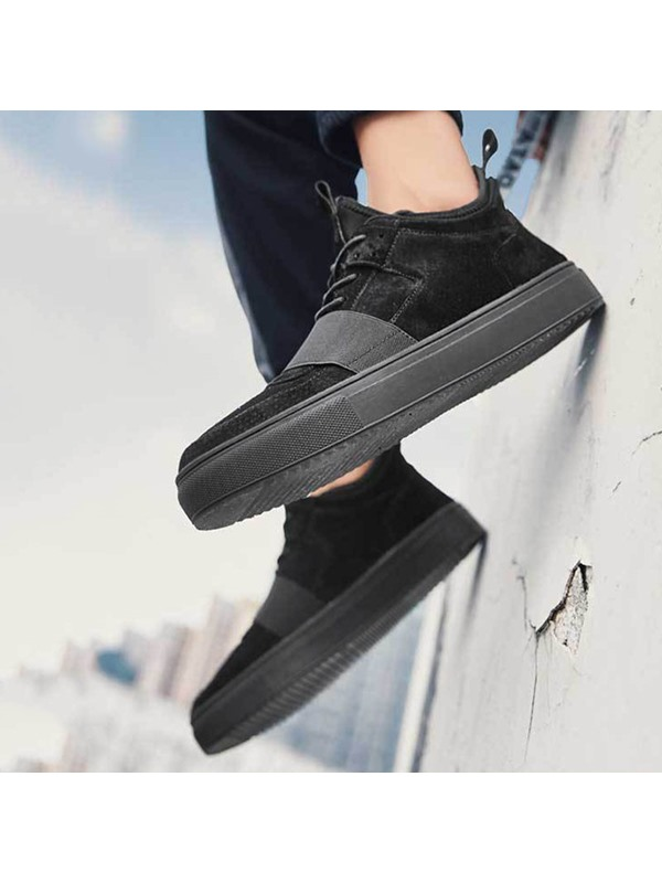 Plain Mid-Cut Upper Lace-Up Round Toe Men's Skate Shoes
