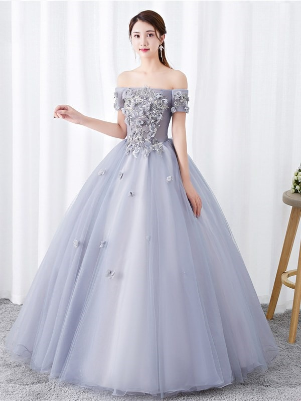 Off-The-Shoulder Appliques Short Sleeves Ball Gown Quinceanera Dress 2019