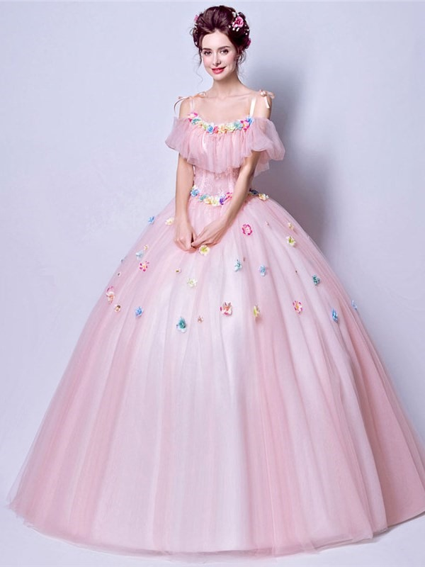 Straps Floor-Length Lace Ball Gown Quinceanera Dress 2019