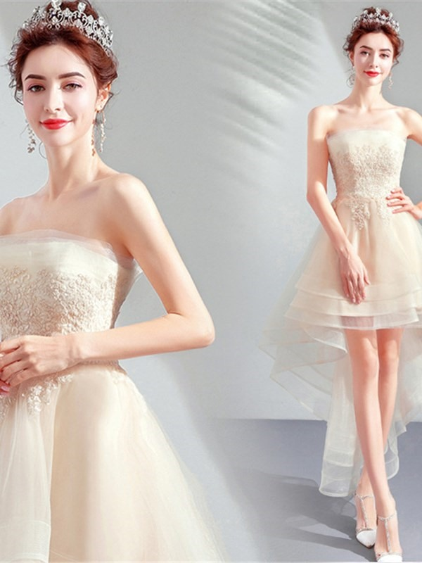 Strapless A-Line Appliques Sleeveless Homecoming Dress 2019