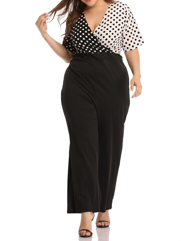 Plus Size Full Length Color Block Loose Straight Women's Jumpsuit