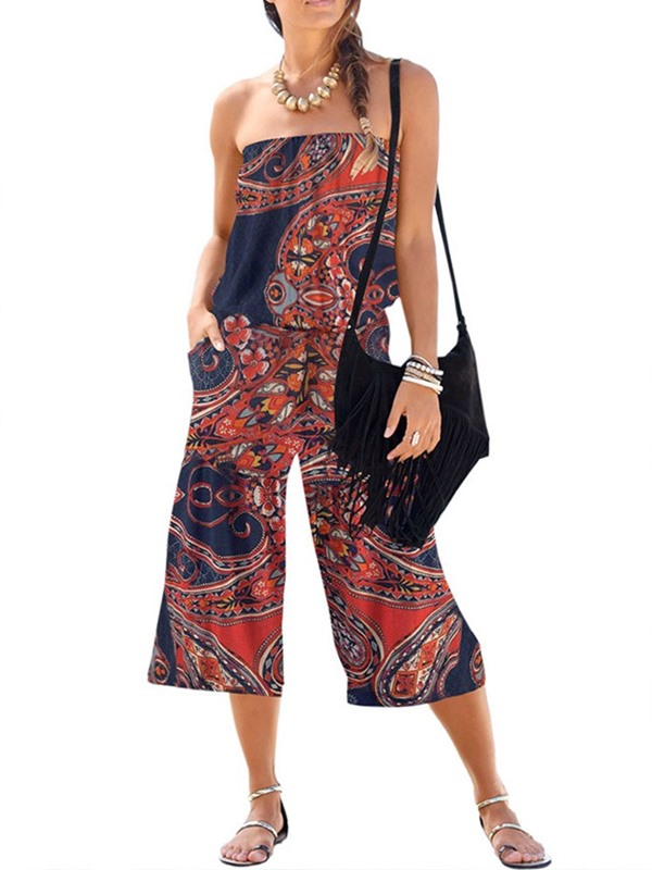 Casual Mid-Calf Plant Loose Wide Legs Women's Jumpsuit