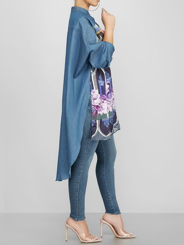 Architecture Floral Print Button Stand Collar Long Women's Blouse