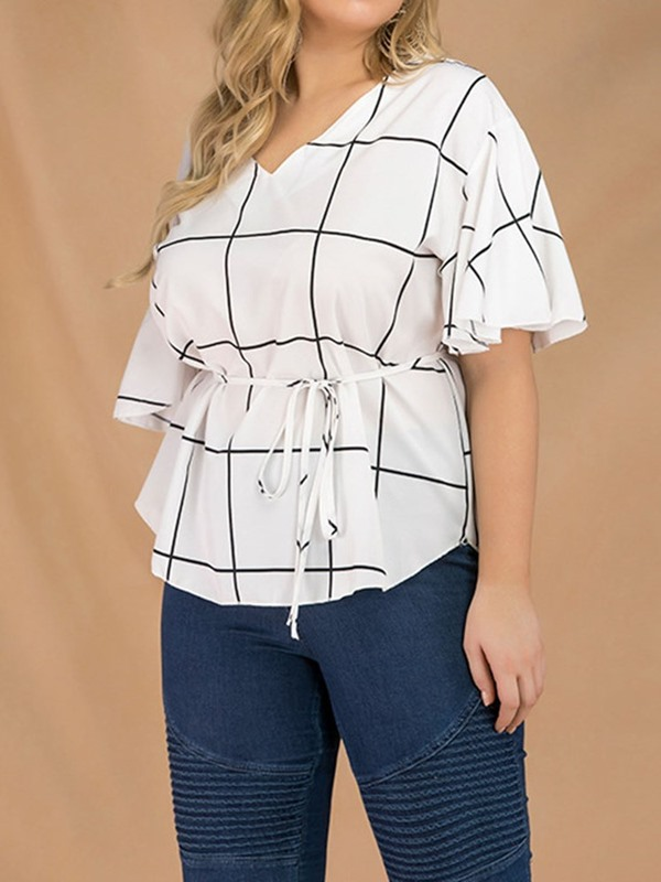 Plus Size Plaid Flare Sleeve Women's Blouse