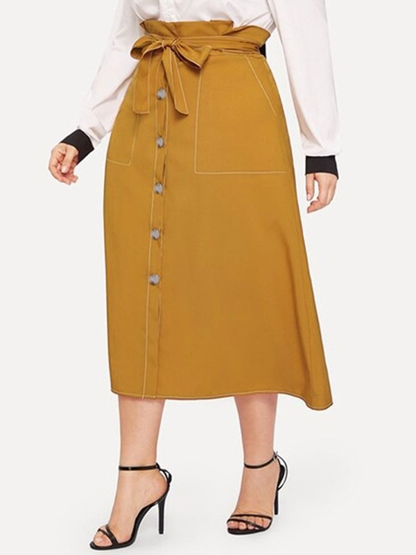 Plus Size A-Line Pocket Mid-Calf Date Night High Waist Women's Skirt