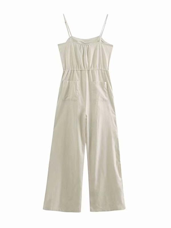 Full Length Plain Wide Legs High Waist Women's Jumpsuit