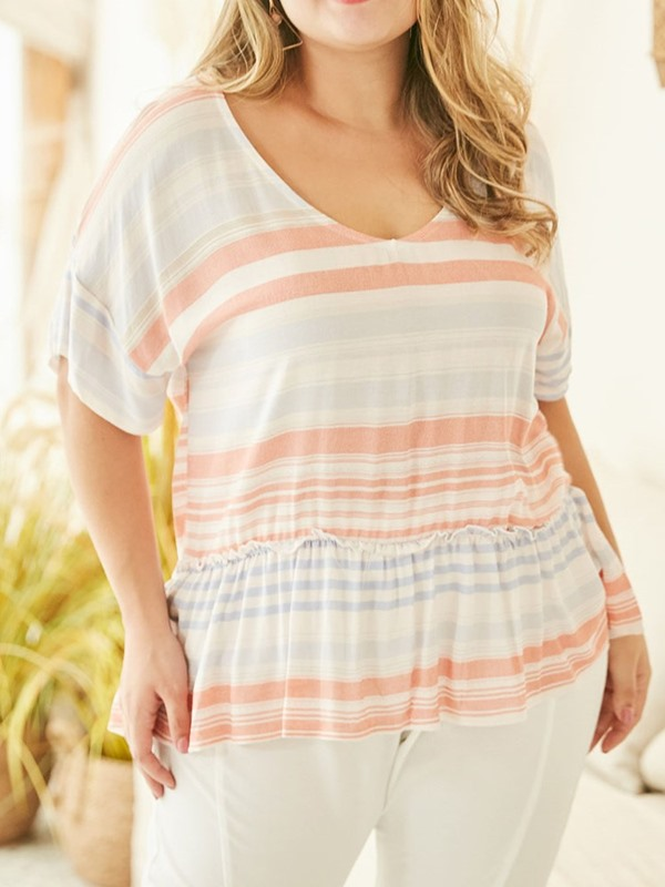 Plus Size Stripe Loose Women's T-Shirt