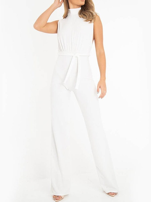 Casual Full Length Lace-Up Straight Loose Women's Jumpsuit