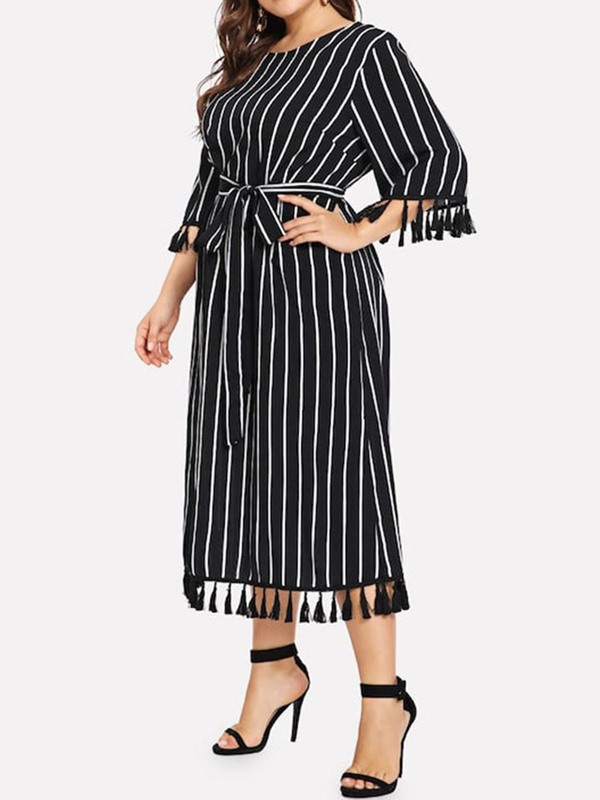 Plus Size Long Sleeve Tassel High Waist Women's A-Line Dress
