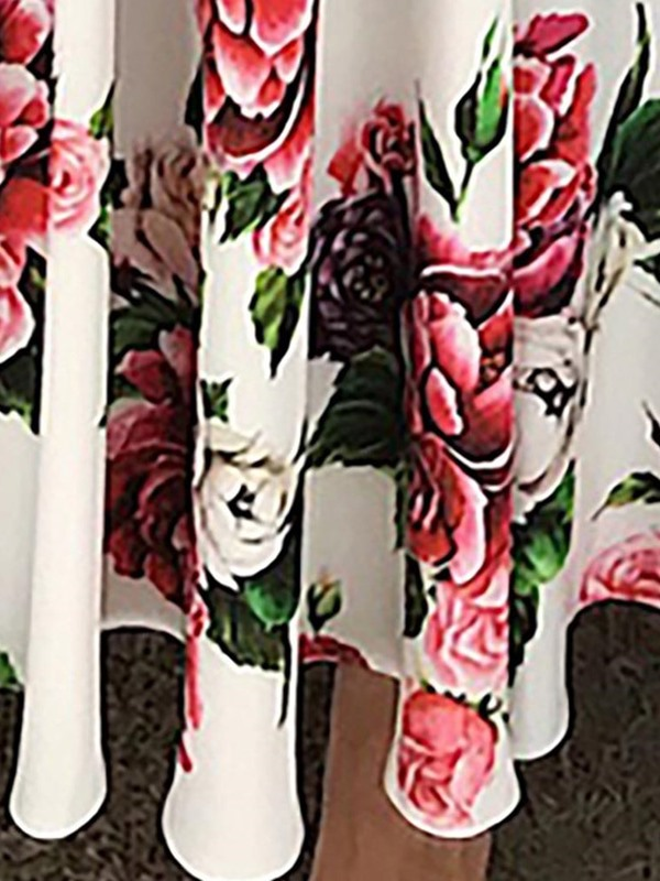 Print Short Sleeve Ankle-Length Expansion Sweet Women's Maxi Dress