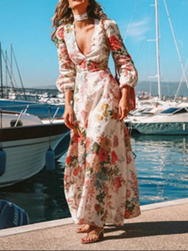 Long Sleeve Print Ankle-Length V-Neck Floral Women's Maxi Dress