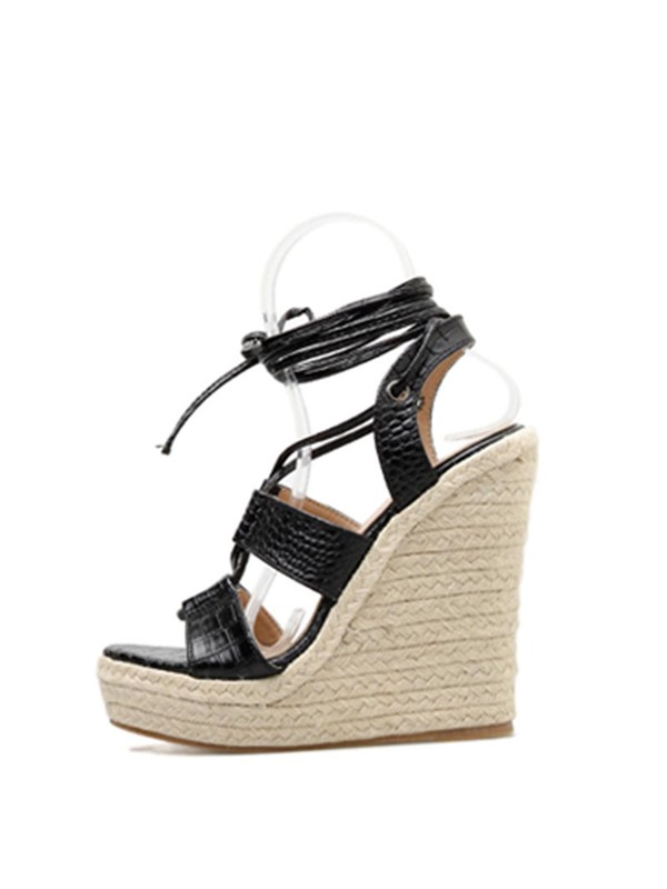 Open Toe Wedge Heel Lace-Up Espadrille Sandals