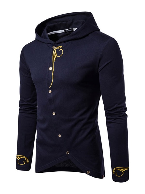 Embroidery Hooded Plain Cardigan Button Men's Hoodie
