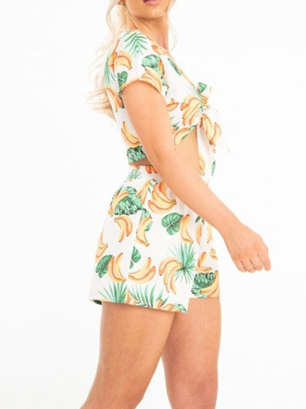 Print Plant Travel Look V-Neck Straight Women's Two Piece Sets