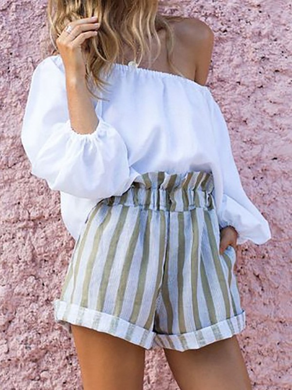 Stripe Shorts Date Night Pullover Off Shoulder Women's Two Piece Sets