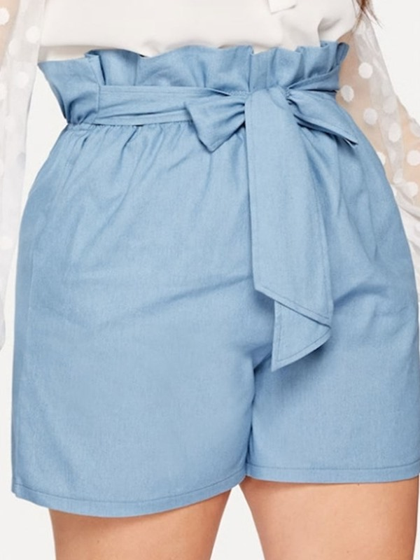 Plus Size Plain Pleated Straight Loose Lace-Up Women's Shorts