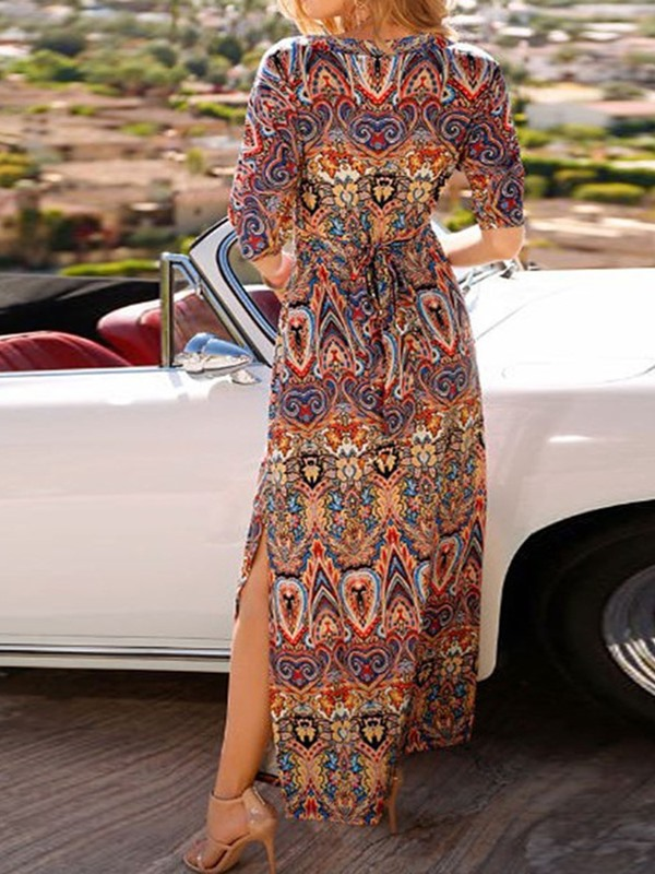 Ankle-Length 3/4 Sleeve V-Neck A-Line Women's Maxi Dress