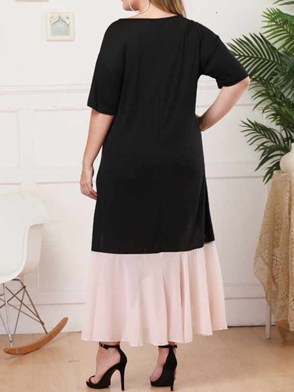 Plus Size Asymmetric Mid-Calf Color Block High Waist Women's Causal Dress