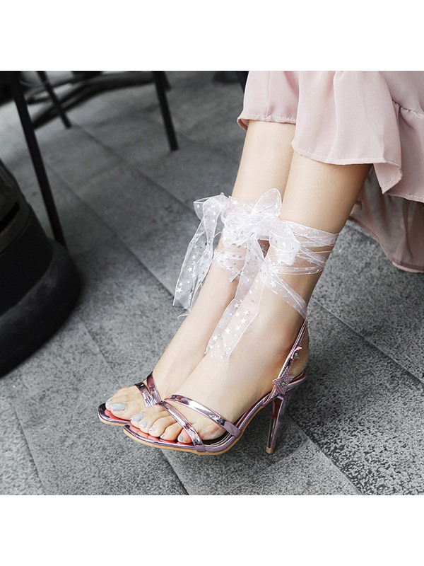 Stiletto Heel Open Toe Lace-Up Prom Sandals