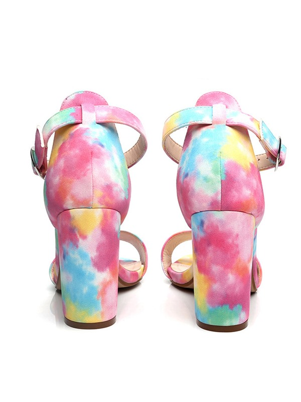 Chunky Heel Open Toe Heel Covering Colorful Sandals