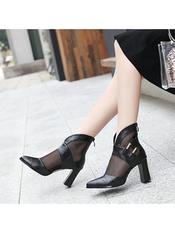 Chunky Heel Color Block Pointed Toe Hollow Ankle Boots